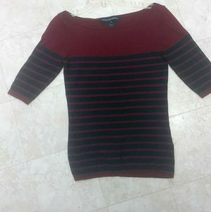French Connection sweater red black stripes